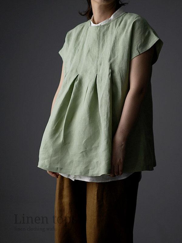 雅亜麻 Double-pleated blouse 2重ヒダのリネンブラウス 薄地 / 萌黄(もえぎ) t039a-meg1