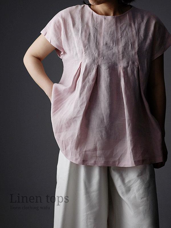 雅亜麻 Double-pleated blouse 2重ヒダのリネンブラウス 薄地 / 桜色(さくらいろ) t039a-sak1