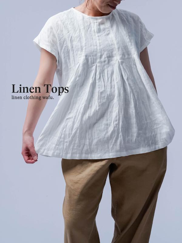 雅亜麻 Double-pleated blouse 2重ヒダのリネンブラウス 薄地 / 白 t039a-wht1