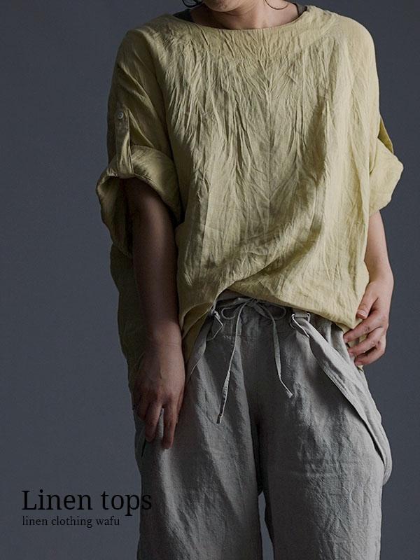 雅亜麻 Linen blouse リネンブラウス ハンドワッシャー やや薄手 /金糸雀色(かなりあいろ) t041a-kai1
