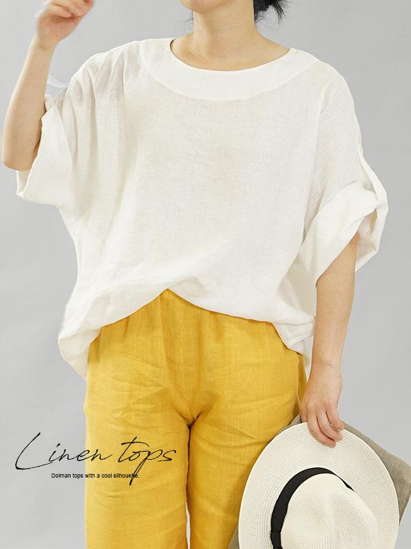 薄手 雅亜麻 リネン シャツ ブラウス ゆったりチュニック 袖口ロールアップ 半袖トップス ボタン手付け 丸首 / 白色