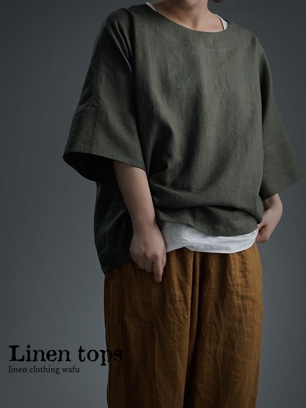 Oversized Linen T-shirt リネンビッグT チュニック/やなぎすすたけ t041f-ysk1