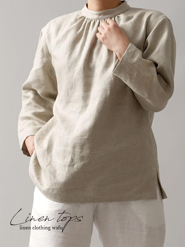 【wafu premium linen】スタンドカラー ブラウス wafu史上最高の上質リネン 高密度リネン/フラックス【M-L】t045a-flx2