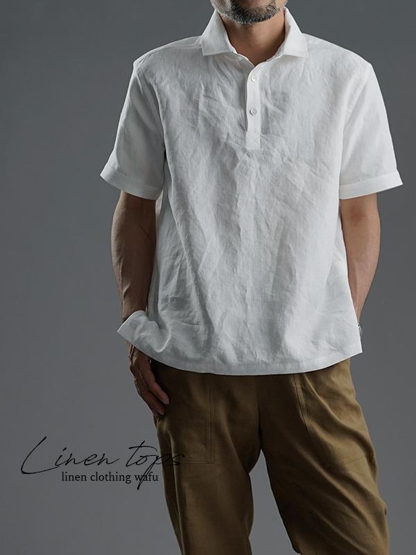 【wafu】Linen Polo shirt ポロシャツ 超高密度リネン   /白色 t053a-wht1