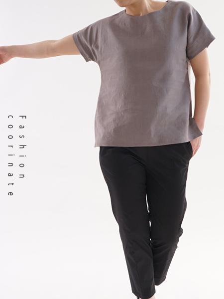 ベルギーリネン ドロップショルダー Tシャツ/ヴァニーユ