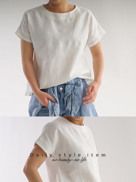 ベルギーリネン ドロップショルダー Tシャツ/ホワイト