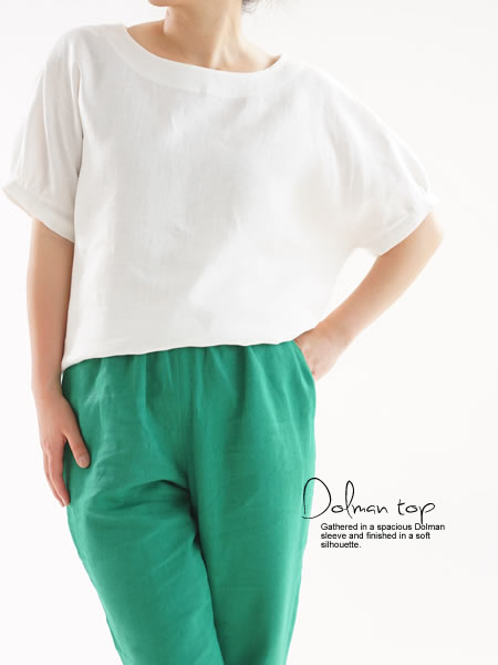 リネン ブラウス ドルマンスリーブ チュニック Tシャツ / ホワイト
