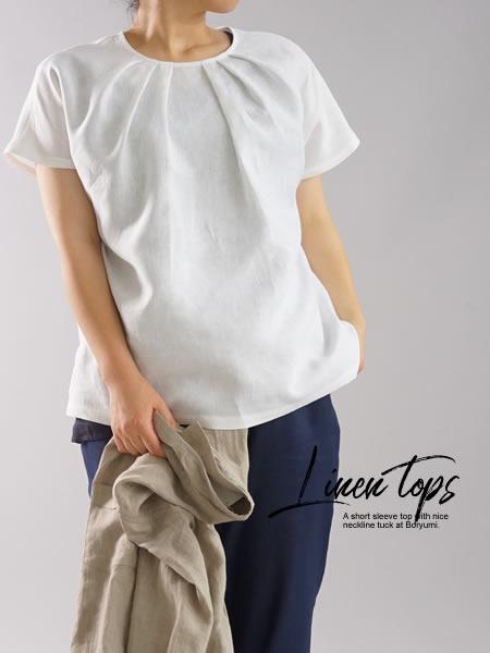 リネンブラウス タック Tシャツ チュニック 半袖 後ろボタン / ホワイト