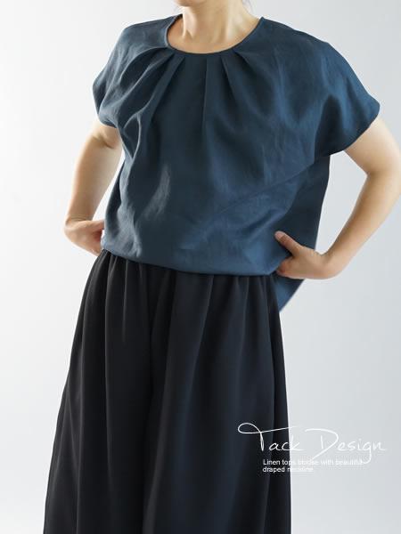 リネンブラウス タック Tシャツ チュニック 半袖 後ろボタン / ネイビー