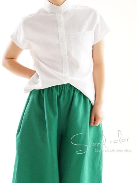 ベルギーリネン フレンチ スタンドカラーシャツ/ホワイト
