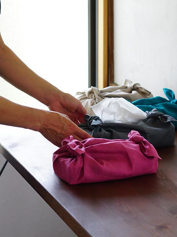 中厚リネン 包み ティッシュカバー ハンカチ 風呂敷 ふきん 台ふきん 多目的用途に使えるリネン布 / 4色展開
