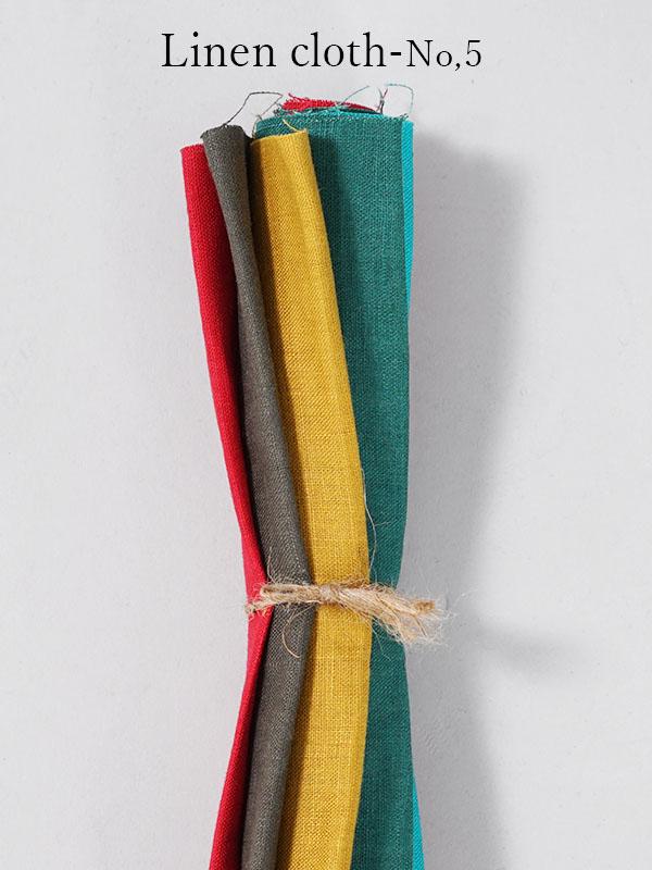 【wafu】はぎれ linen100% リネン 大きめ 5色 5枚セット  リネン100% 【ゆうパケット可】 / 【 25~27×40~43cm 】z014a-no05