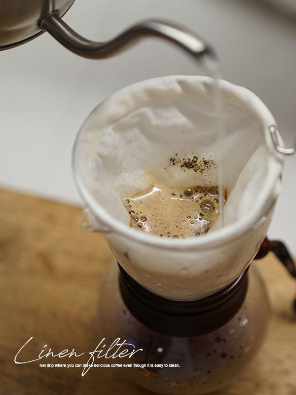 リネン ネルドリップ用 ろか器用 コーヒー フィルター ドリップ ドリッパー ネルドリップ / ホワイトか亜麻ナチュラル