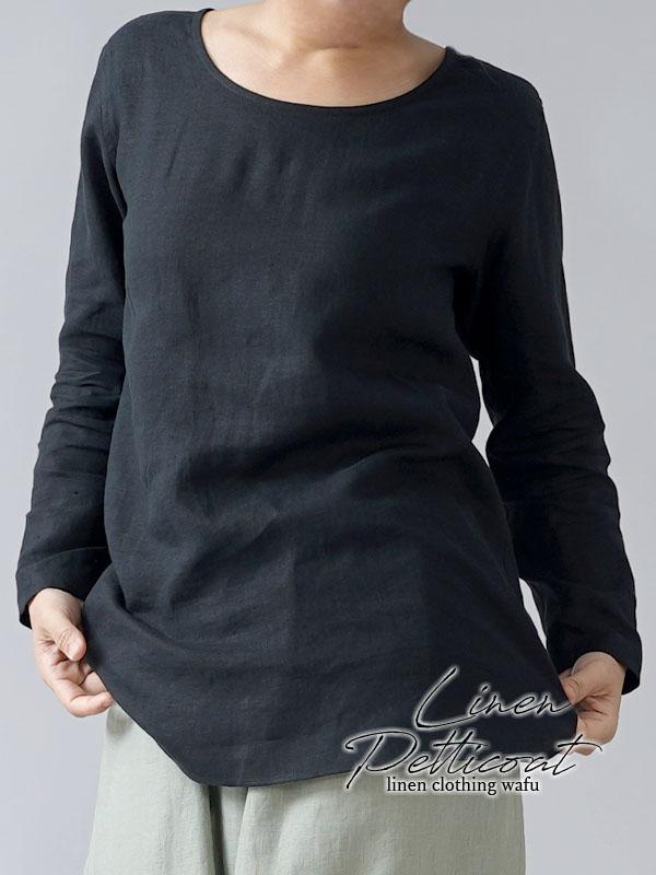 【wafu】雅亜麻リネン インナー ブラウス ラウンドカット  黄金比率のネック角度/ 黒色 p008a-bck1