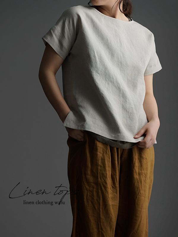 やや薄 リネンブラウス ドロップショルダー Tシャツ トップス t001l-amn1