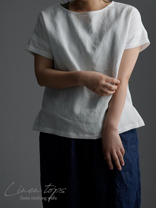 やや薄 リネンブラウス ドロップショルダー Tシャツ トップス t001l-wht1