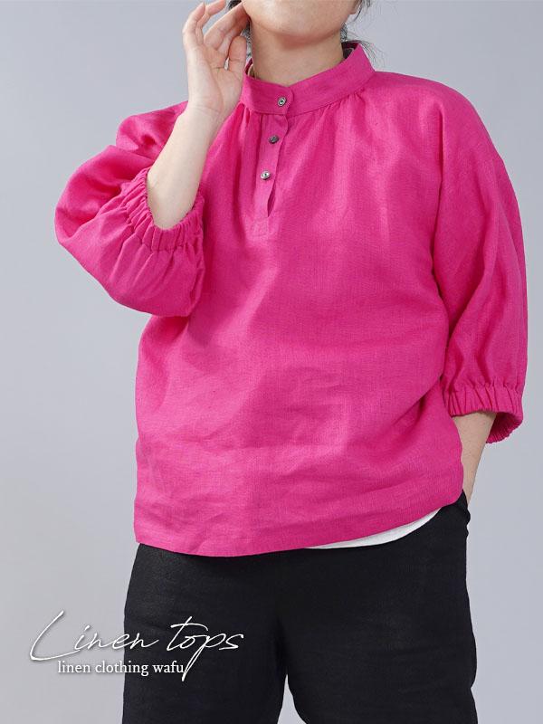 【wafu】中厚 リネン ブラウス ふんわりスタンドカラー ドロップショルダー/アザレアピンク【M-L】t005a-azr2