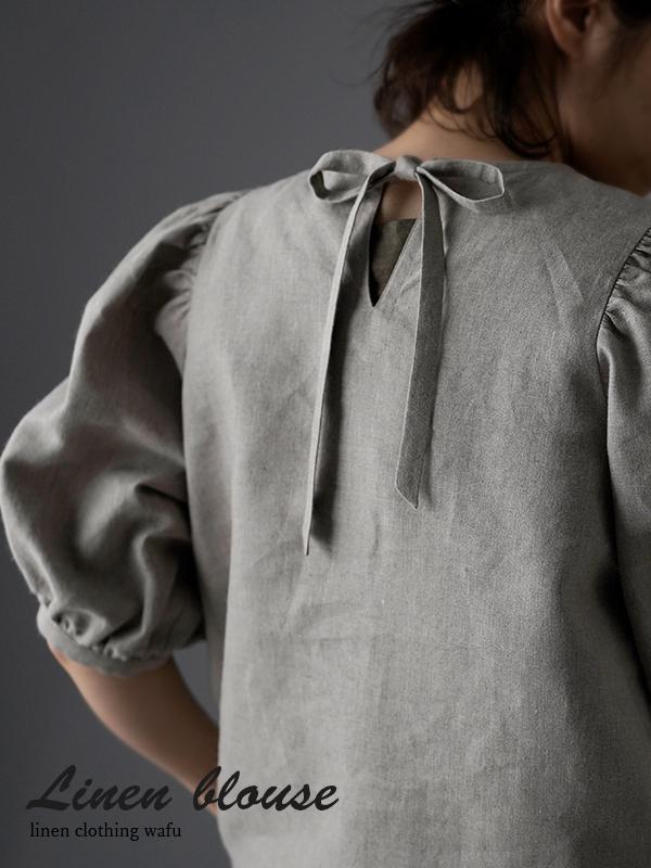 Linen Puff Sleeve Blouse リネン ブラウス / 亜麻ナチュラル t006c-amn1