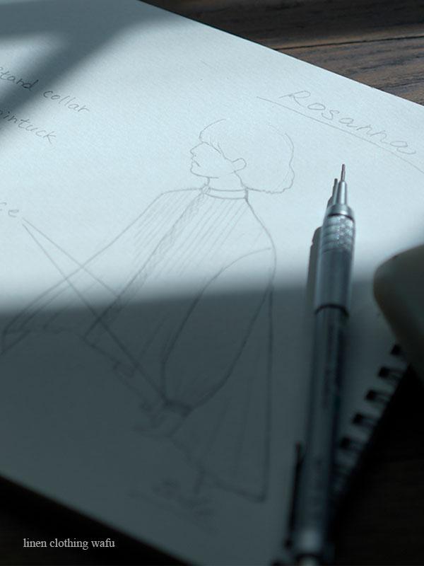 【完全受注製作】Rosanna(ロザンナ) Pintucked linen shirt /2色展開 t006d