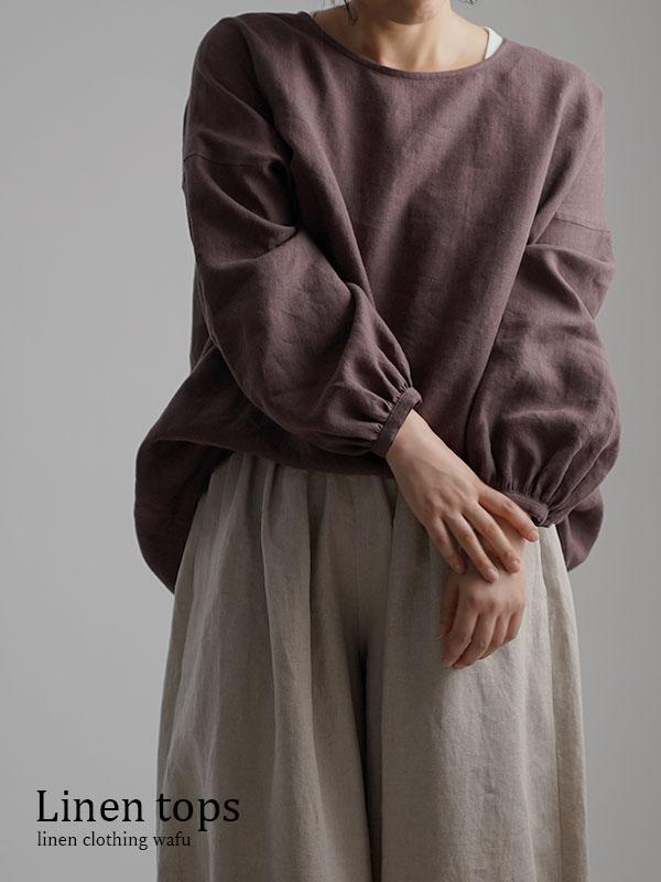 Linen Top ふんわり袖ガゼットブラウス /小豆色(あずきいろ) t011e-azk2