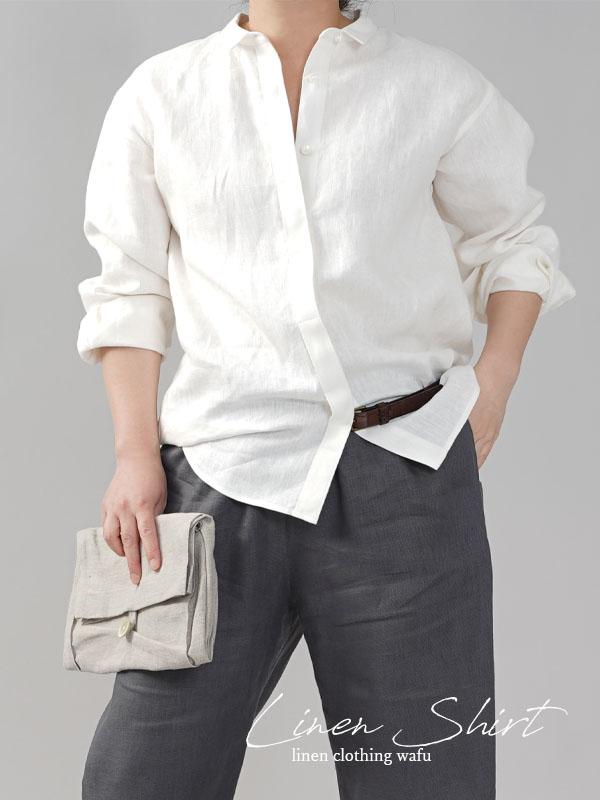【wafu】中厚 比翼リネンシャツ 長袖 ちび襟 リネンシャツ ドロップショルダー 袖タック カフス袖/ホワイト【free】t018c-wht2