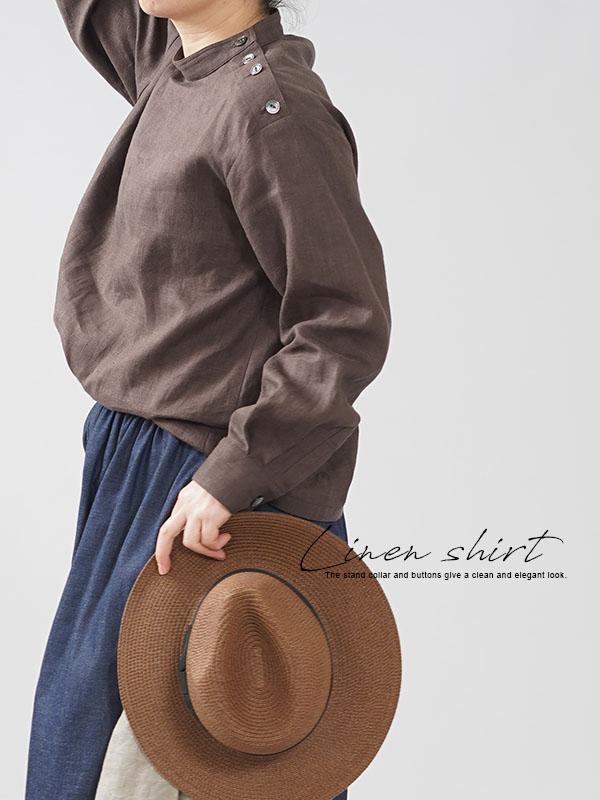 中厚地 リネン ブラウス シャツ スタンドカラー カフス袖 肩ボタン アドーブラウン M-L t019b-abn2