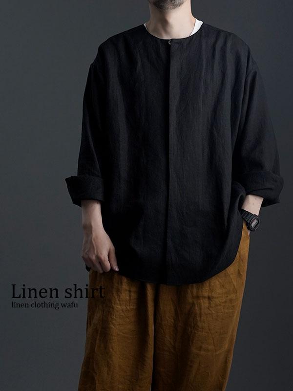 【wafu】Oversized Linen shirt 比翼ビックシャツ 男女兼用 / 黒色 t021e-bck1