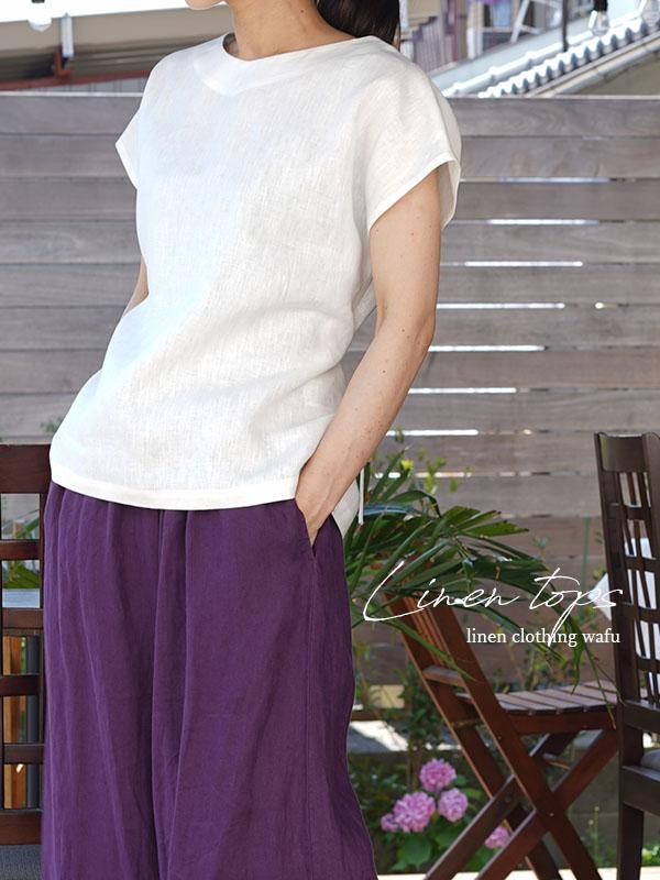 中厚 リネンブラウス Vネック Tシャツ フレンチスリーブ チュニック 紐付 / ホワイト【L】t025a-wht2