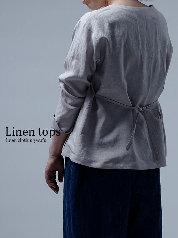 【wafu】Linen Top ブラウジング トップス / 灰桜 t025h-hzk1
