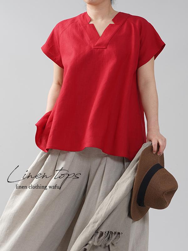 やや薄地 リネン ブラウス トップス 禅 着物襟 和装  チュニック/赤紅(あかべに)【free】t028e-akb1