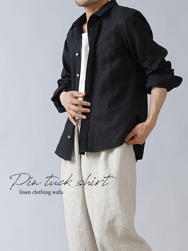超高密度リネン ピンタックシャツ やや薄地 60番/ブラック t032k-bck1-m