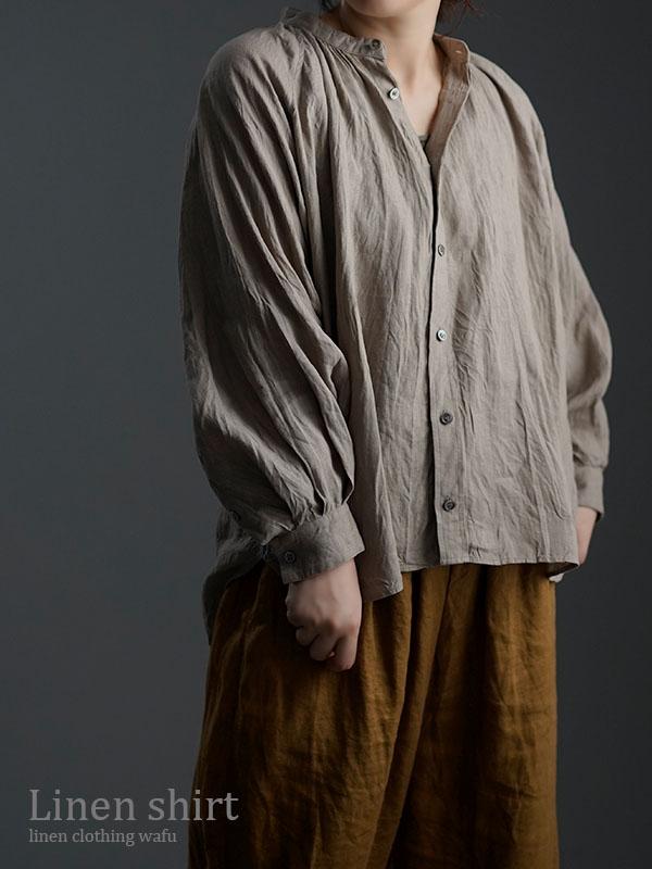 雅亜麻 linen shirt リネンシャツ 60番手 ハンドワッシャー 榛色 t034a-hbm1