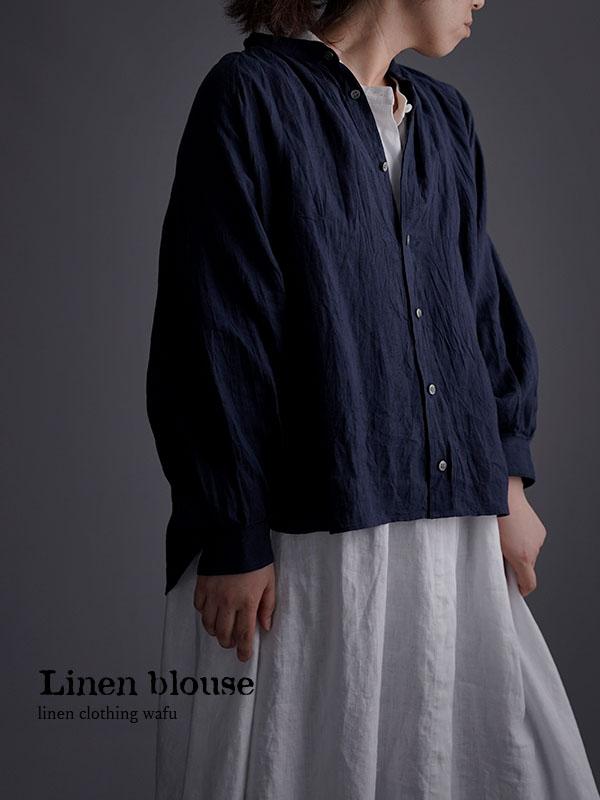 雅亜麻 linen shirt リネンシャツ 薄地 60番手 ハンドワッシャー /紺青(こんじょう) t034a-kju1