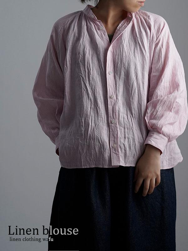 雅亜麻 linen shirt リネンシャツ 薄地 60番手 ハンドワッシャー 桜色(さくらいろ) t034a-sak1