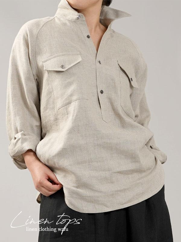 【wafu】中厚 リネン プルオーバーシャツ ラグランスリーブシャツ 両脇ポケット仕様 男女兼用/亜麻ナチュラル【M-L】t035f-dbj2-w
