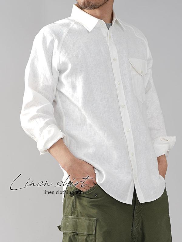 メンズ 中厚地 リネン ラグラン シャツ 長袖 フラップポケット付き 胸ポケット メンズライク /ホワイト【M/L】t035h-wht2