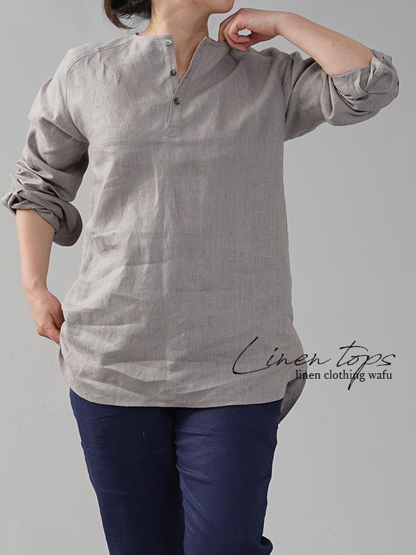 男女兼用 中厚地 リネンシャツ ラグラントップス  ヘンリーネック  ラグランスリーブ  タック /アッシュパール free t038e-asp2