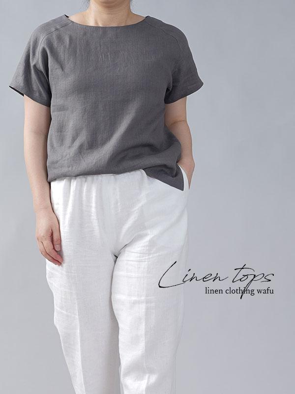 やや薄地 リネン Tシャツ リネンブラウス リネントップス リネンTshirt 男女兼用/鈍色(にびいろ)【M-L】t038f-nib1