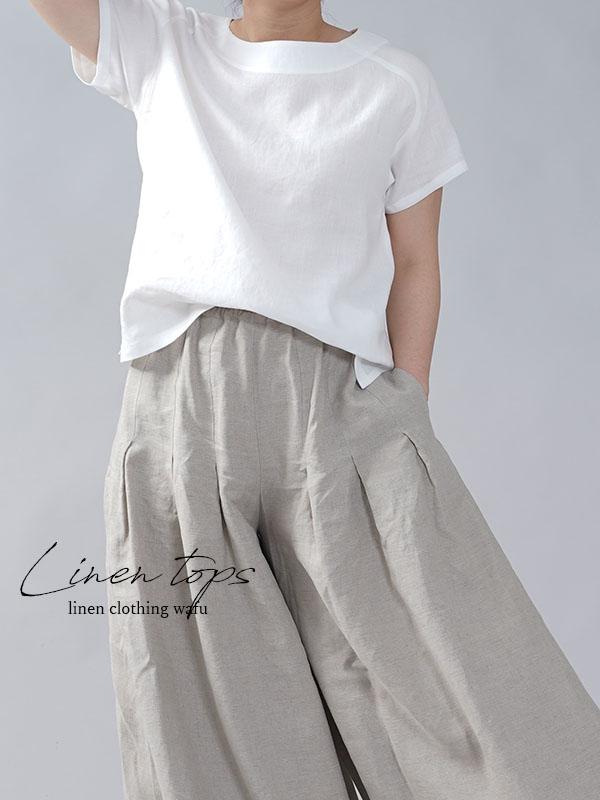 やや薄地 リネン Tシャツ リネンブラウス リネントップス リネンTshirt 男女兼用/白色【M-L】t038f-wht1