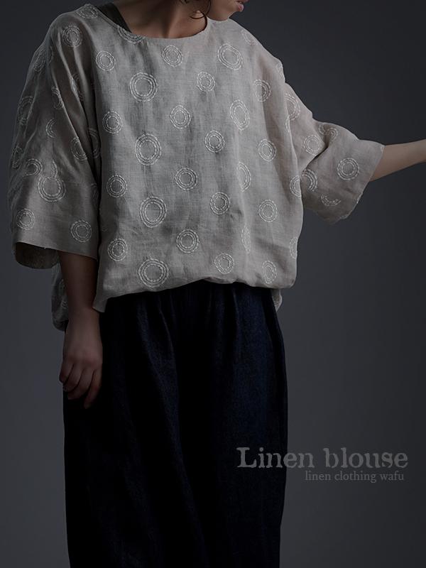 Linen embroidery ビッグシルエット Tシャツ /サークル刺繍 亜麻ナチュラル t041h-ssa2