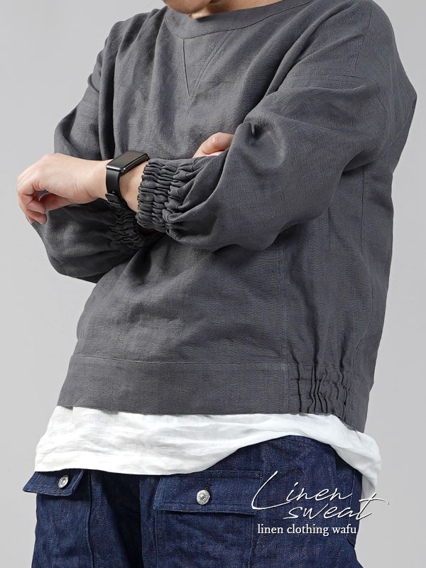 中厚 リネン スウェット風トップス リネントレーナー/ディムグレー【free】t048a-dmg2