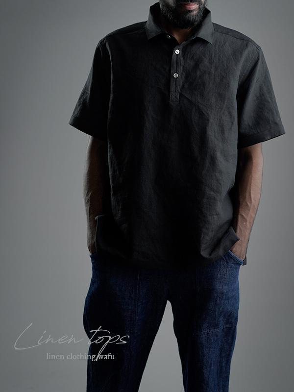 【wafu】Linen Polo shirt ポロシャツ 超高密度リネン   /黒色 t053a-bck1