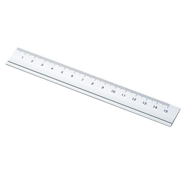 アルミ製定規(15cm)(シルバー)