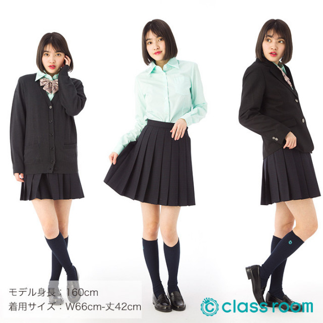 ★送料無料★スクールスカート[濃グレー地]学生服制服女子高生国内工場製造classroomオリジナルプリーツスカートAIKGT3472S-1S