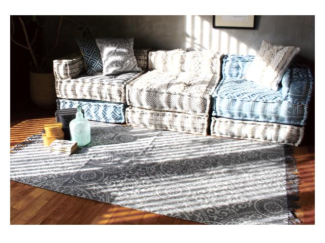 block multi sofa rug GEO gray ブロックマルチソファ ラグ ジオグレー a.depeche アデペシュ