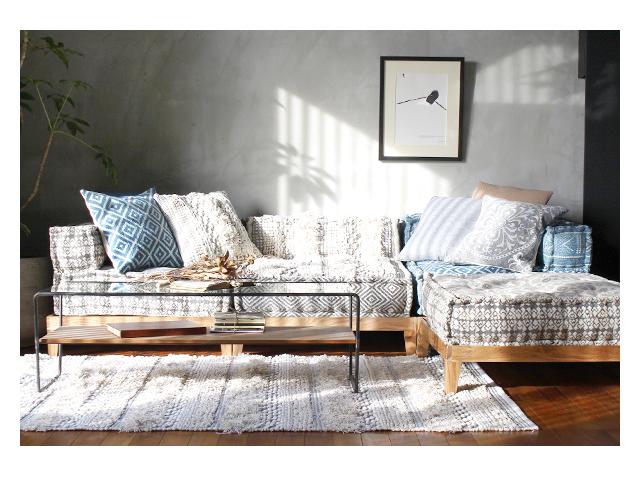 block multi sofa rug MAC white ブロックマルチソファ ラグ ホワイト a.depeche アデペシュ