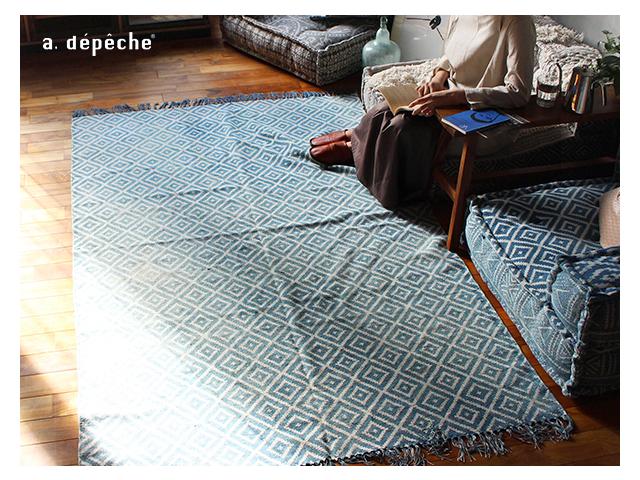 block multi sofa rug NOS blue ブロックマルチソファ ラグ ブルー a.depeche アデペシュ