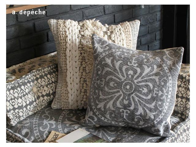 BMS cushion cover GEO gray ブロックマルチソファ クッションカバー グレー a.depeche アデペシュ