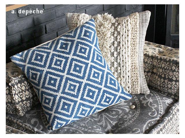 BMS cushion cover NOS blue ブロックマルチソファ クッションカバー ブルー a.depeche アデペシュ