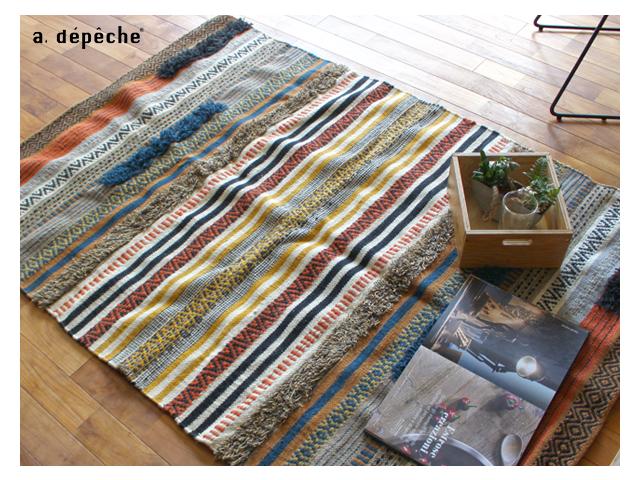 cotton-wool rug 2162 rectangle コットンウール ラグ レクタングル a.depeche アデペシュ 綿 幾何学 エスニック アジアン